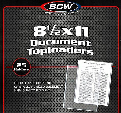 25 New BCW 8.5X11 Rigid Topload Holder Photo Menu Page 8 1/2 x 11 Toploader