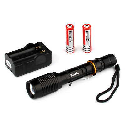UltraFire 2000 Lumens CREE XM-L T6 Zoomable LED Flashlight Torch+Battery&Charger