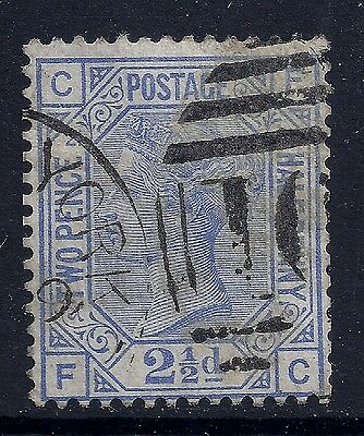1881 GB SG157 QV 2½d BLUE PLATE 21 USED LETTERS 'FC'