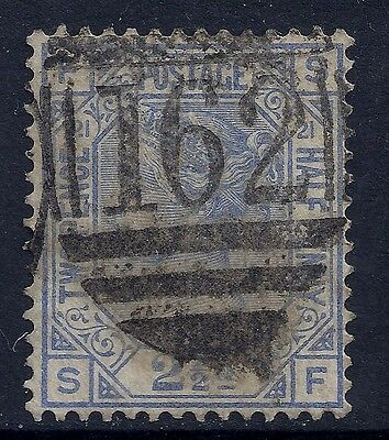 1881 GB SG157 QV 2½d BLUE PLATE 21 USED LETTERS 'SF'