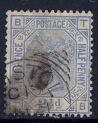 1881 GB SG157 QV 2½d BLUE PLATE 21 USED LETTERS 'TB'