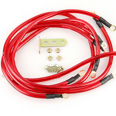 5 Point Red Grounding Kit Earth Ground Wire Cable Performance Universal Car New