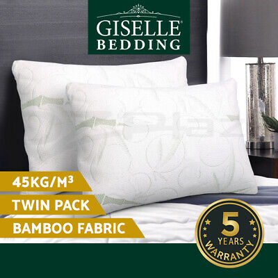 Giselle Bedding 2x ECO LAND Contour Bamboo Pillow Memory Foam Cover 70 x 40 cm