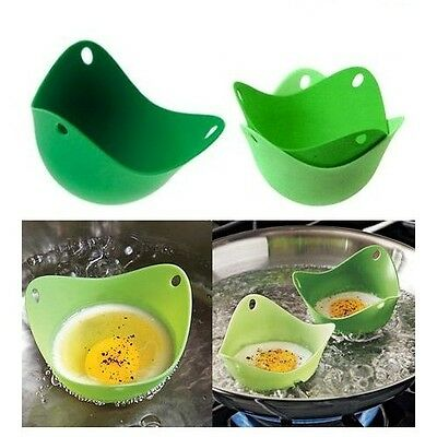 Twin Pack Silicone Pan Mould Egg Poachers Poaching Poach Pods Kitchen Cookware