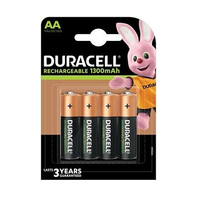 4 Pack Duracell AA HR06 Rechargeable NiMH 1300mAh Capacity PRE & STAY CHARGED