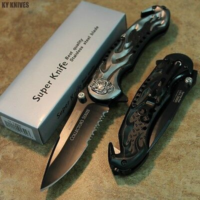 "8"" Gray Skull Flame Assisted Open Rescue Pocket Knife NEW TF-736BK zix"