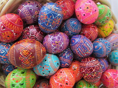 Medium Assorted Wooden Painted Ukrainian Easter Eggs, Pysanky, Colorful, 1 1/2""