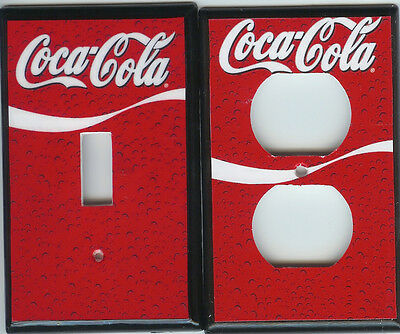 COKE COCA COLA WAVE AND BUBBLES Light switch and outlet cover set