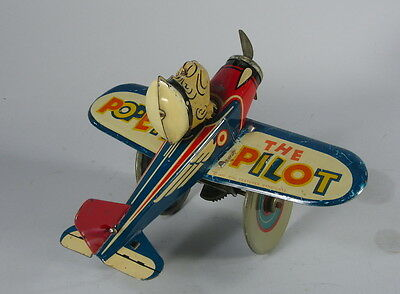 1939 Louis Marx Tin Popeye the Pilot Airplane Toy Great Graphics & Wind Up Works