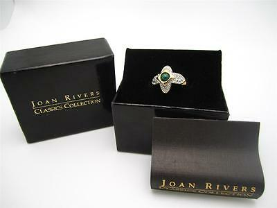 Joan Rivers Classics Collection Crystal Green Stone Gold Pl Cocktail Ring in Box