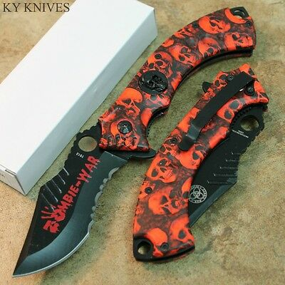 """8"""" ZOMBIE WAR Red Skull Tactical Spring Assisted Open Pocket Knife NEW 7512 zix"""
