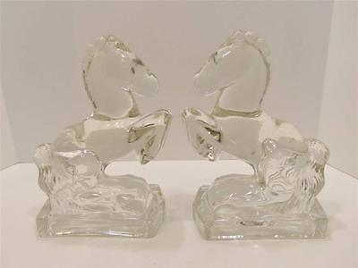 Vintage L.E. Smith Clear Glass Rearing Horse Bookends