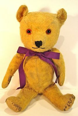Vintage Chiltern Hugmee Gold Mohair Bear with Rexine Pads - 1940s