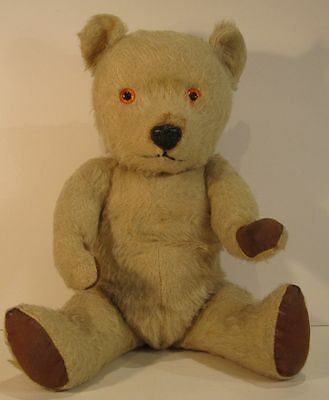 Vintage Chiltern Hugmee Light Gold Mohair Bear with Rexine Pads - 1950s