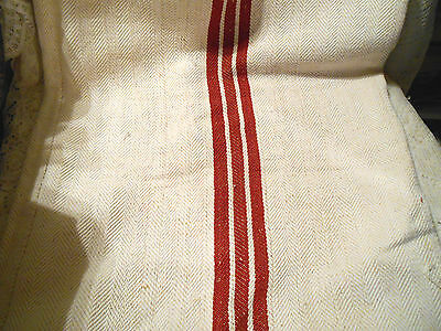 Vintage Feedsack or Grain Sack-Heavy with Red Center Stripe/Still Sewn in Sack