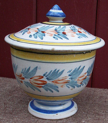 French Faience Flowered Lidded Bowl HR Quimper 1900