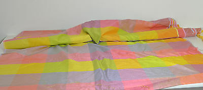 10 Yards Brilliant Vintage Thai Silky Multicolor Fabric With Iridescents Nn27