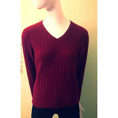 Daniel Bishop 100% Cashmere Red Wine Long Sleeve Vneck Sweater Size Small