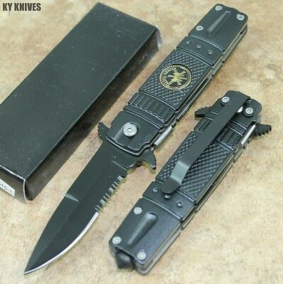 """7"""" Black Military Special Force Spring Assisted Open Pocket Knife YC-S-515-1 zix"""
