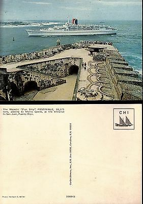 "PUERTO RICO - ""the FUN-SHIP"" FESTIVALE, Entering the Harbour - 4x6  Post Card"
