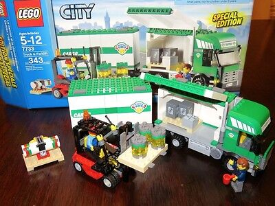 Lego City Transport Truck & Forklift 7733 COMPLETE 100% with Box Free Shipping