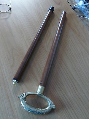 WOOD CANE THAT UNSCREWS INTO TWO PARTS ~ HAS BRASS DECORATIVE HANDLE
