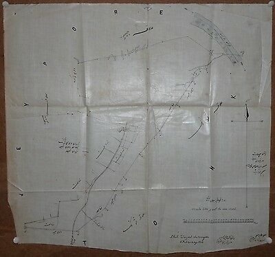 "India 1888 hand drawn painted town map Deoli Tonk on cloth paper 19"" x 21"""
