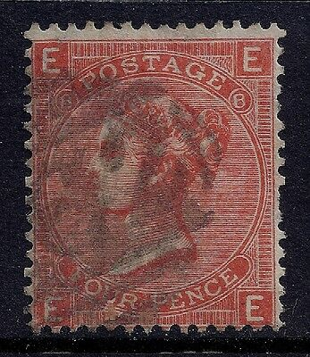 1866 GB SG94 QV 4d VERMILLION PLATE 8 USED LETTERS 'EE'