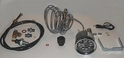 DUAL Fahrenheit Water Temp & Oil Pressure Gauge & Universal FITTING KIT 1950-60s