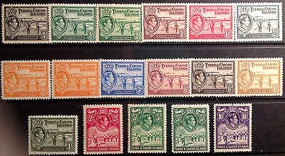 Turks & Caicos 1938/1945 Definitive Set. Extra Shades Lightly Mounted Cat £208
