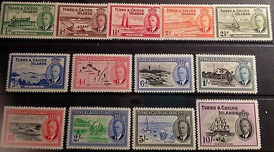 Turks & Caicos 1950 Definitive Set. Sg221/233 Very  Lightly Mounted Cat £85