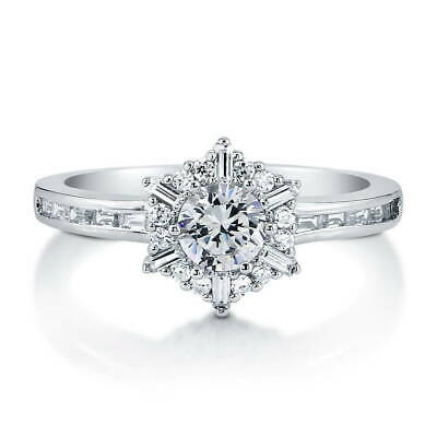 BERRICLE Sterling Silver Round CZ Snowflake Halo Promise Fashion Ring 1.3 Carat