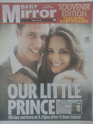 ROYAL BABY GEORGE.WILLIAM & KATE.THE MIRROR SOUVENIR UK NEWSPAPER.JULY 23 NEW