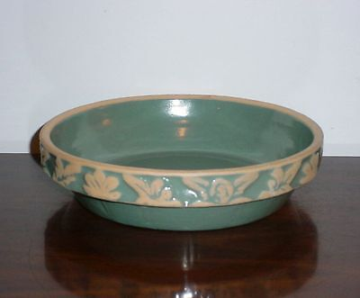 Blue Green Yellow Ware Pie Plate Pan Crock Bowl  Made in USA Stoneware Pottery