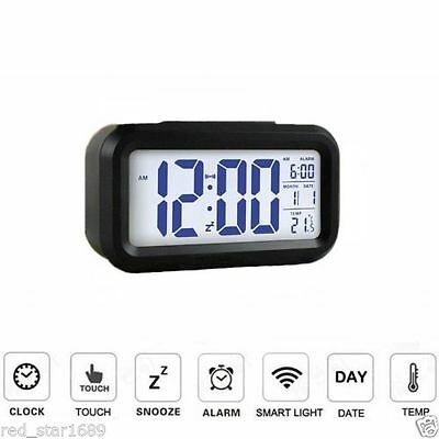 New Digital Snooze LED Alarm LCD Clock Backlight Time With Calendar Thermometer
