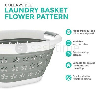 Collapsible Space Saving Laundry Large Folding Basket Cloth Washing Pop Up Bin