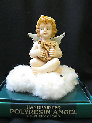 Handpainted Polyresin Angel on Puffy Cloud
