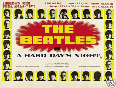 A Hard day's night The Beatles vintage movie poster print