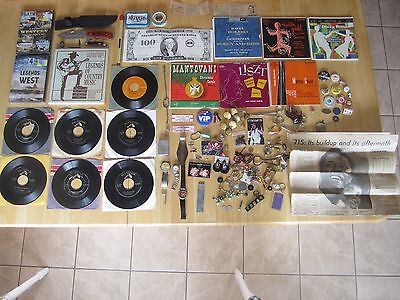 Large Junk Drawer Lot:  Knifes, sealed DVD's, Elvis Records, silver coins, PLUS