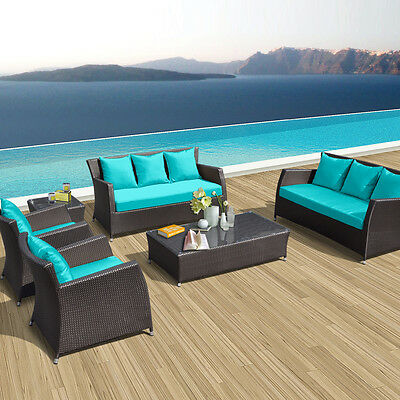 Modern 6pcs Outdoor Patio Furniture Set All Weather PE Wicker Turquoise