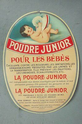 VINTAGE 1910's Poudre Junior French Baby TALCUM Powder ADVERTISING PAPER SIGN