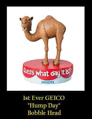 Geico Gecko Large CAMEL BOBBLE HEAD / Bobblehead Guess What day it is - Hump Day