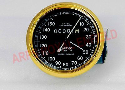 Vintage Bike Replica Smith Speedometer 0-150 Kmph Bsa Enfied Norton Brass Bezel