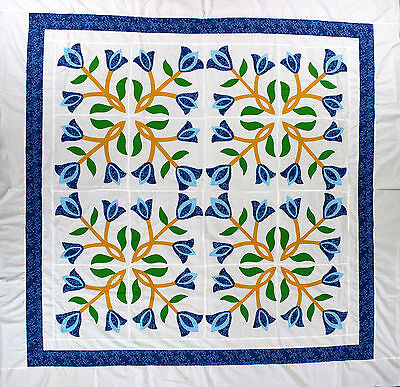 Incredible Hand Applique Tulip design QUILT TOP - Beautiful look - Blue & white
