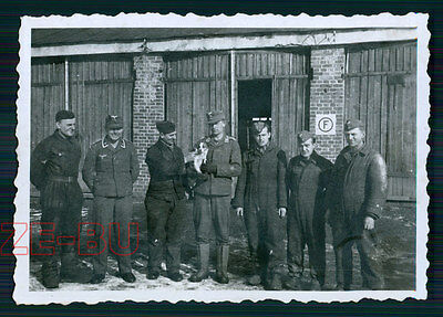vintage photo GERMAN SOLDIERS POSING W/ LITTLE WAR DOG WWII 1940s
