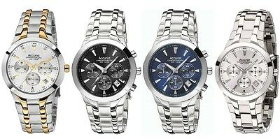Accurist Chronograph Stainless Steel Bracelet Mens Watch Gold Blue Black Silver