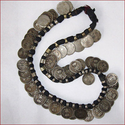 Antique 51 Piece 25 Paise Tribal Necklace From King Edward 1918 To 1985 India