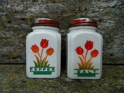 Vintage Tipp City McKee Milk Glass Red Tulips Salt & Pepper Shaker Set