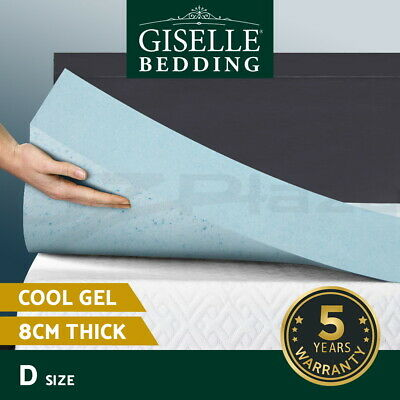COOL GEL Memory Foam Mattress Topper BAMBOO Fabric Cover Double 8CM
