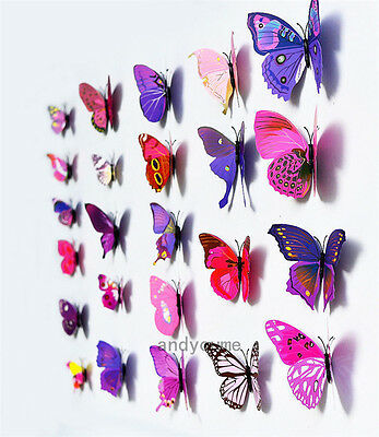Purple 12pcs 3D Butterfly Wall Stickers Art Decal Home DIY Decor Room Decoration